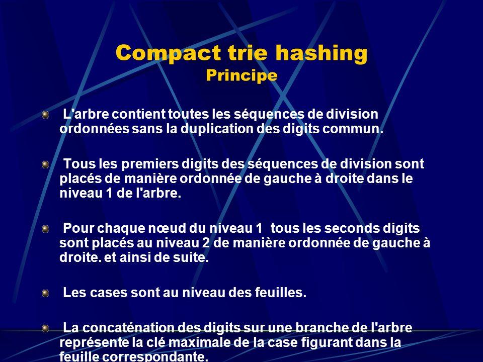Compact trie hashing Performances Algorithmes en mémoire : Recherche : N/2 en moyenne Insertion : N/2 décalages en moyenne Encombrement : 3 octets / case en moyenne.