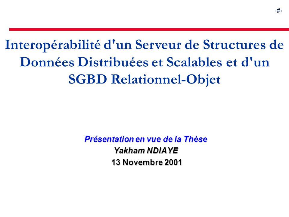 1 Interopérabilité d un Serveur de Structures de Données Distribuées et Scalables et d un SGBD Relationnel-Objet Présentation en vue de la Thèse Yakham NDIAYE 13 Novembre 2001 13 Novembre 2001