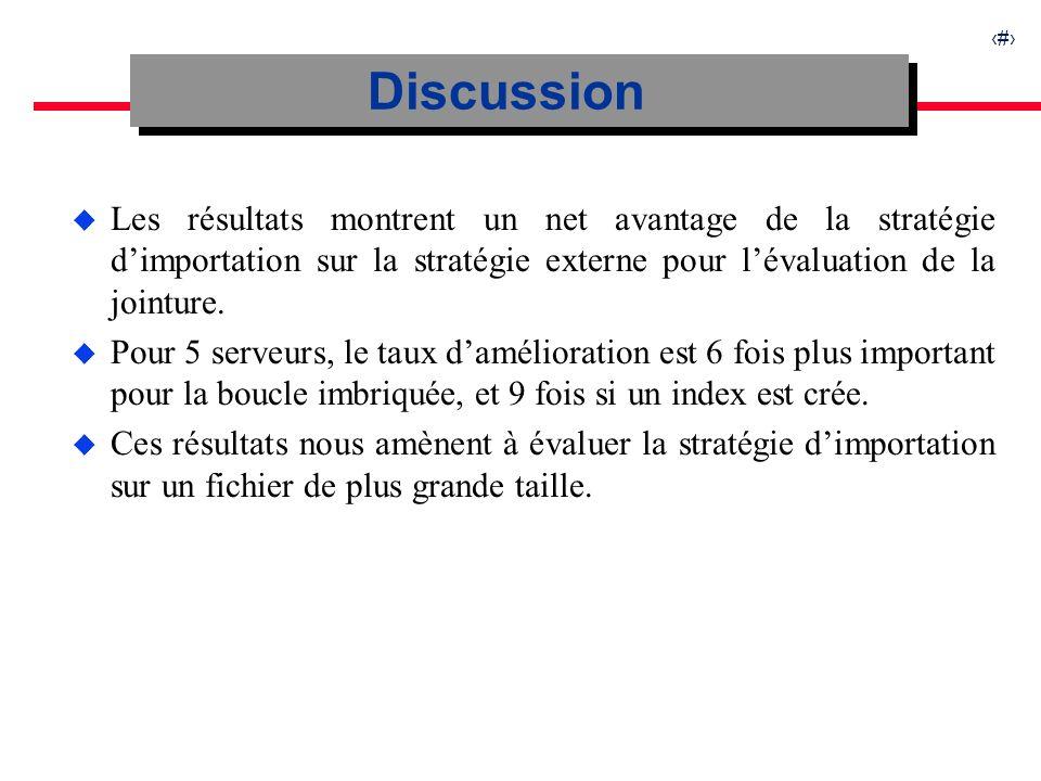 19 u Les résultats montrent un net avantage de la stratégie dimportation sur la stratégie externe pour lévaluation de la jointure.