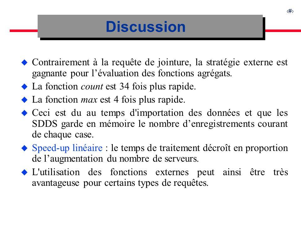 24 u Contrairement à la requête de jointure, la stratégie externe est gagnante pour lévaluation des fonctions agrégats.