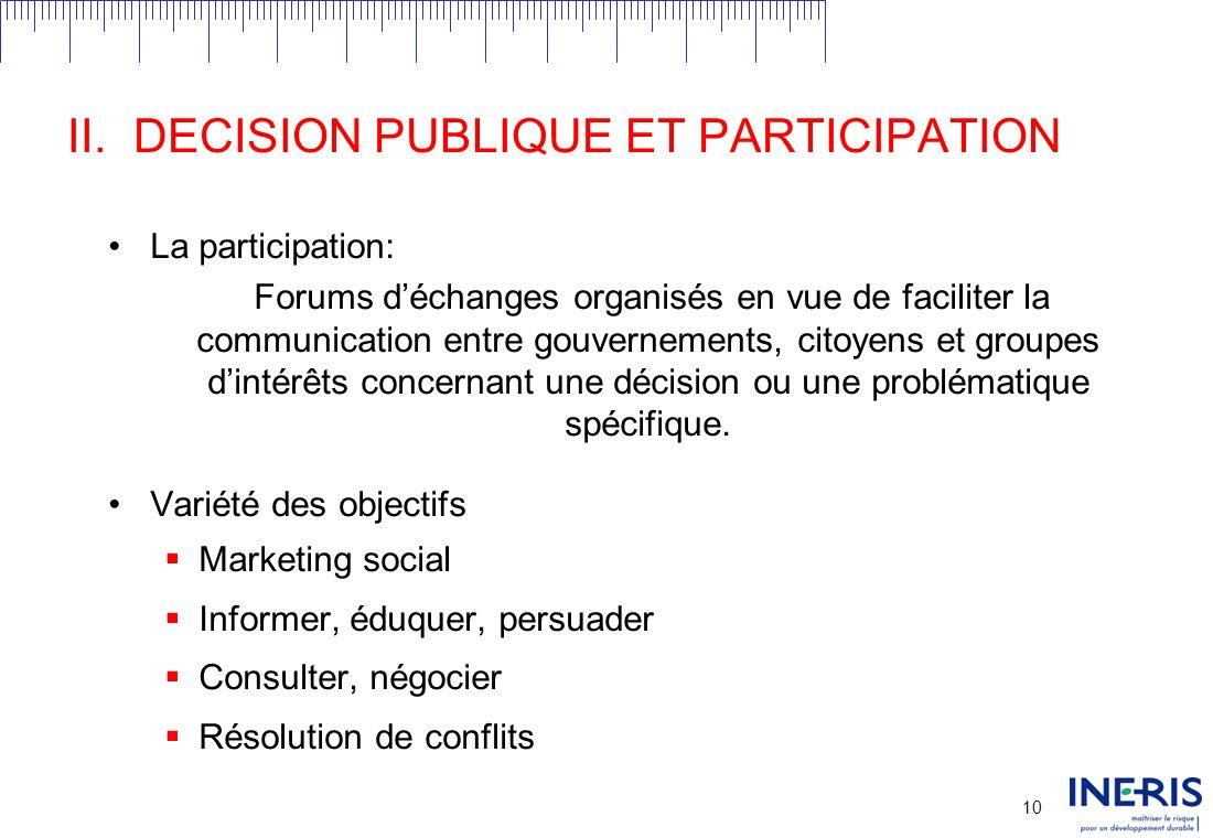 9 II.DECISION PUBLIQUE ET PARTICIPATION Un processus de décision est dit public sil implique des objets et des acteurs publics.