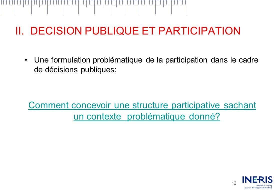 11 II.DECISION PUBLIQUE ET PARTICIPATION Différents niveaux de participation: Information; Prise en compte du retour sur information; Consultation; Implication avec impact potentiel sur la prise de décision.