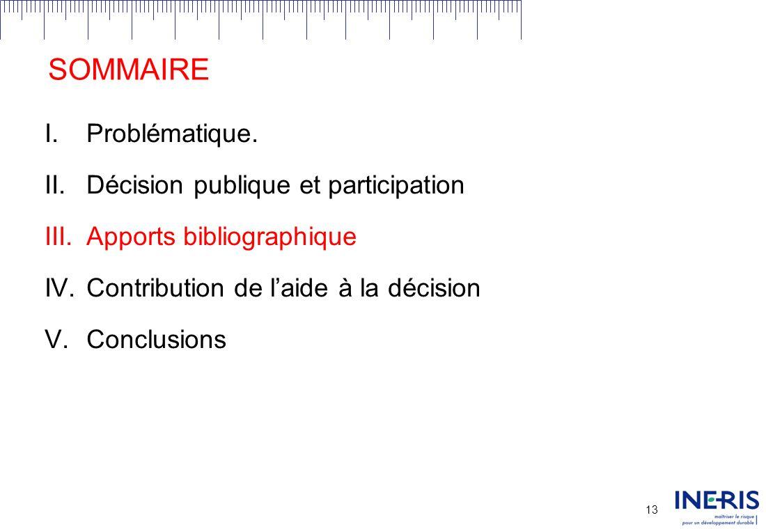 12 II.DECISION PUBLIQUE ET PARTICIPATION Une formulation problématique de la participation dans le cadre de décisions publiques: Comment concevoir une structure participative sachant un contexte problématique donné?
