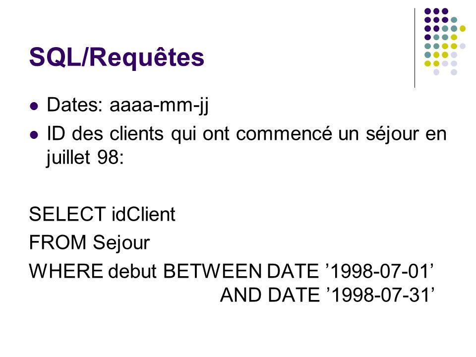 SQL/Requêtes Dates: aaaa-mm-jj ID des clients qui ont commencé un séjour en juillet 98: SELECT idClient FROM Sejour WHERE debut BETWEEN DATE 1998-07-0