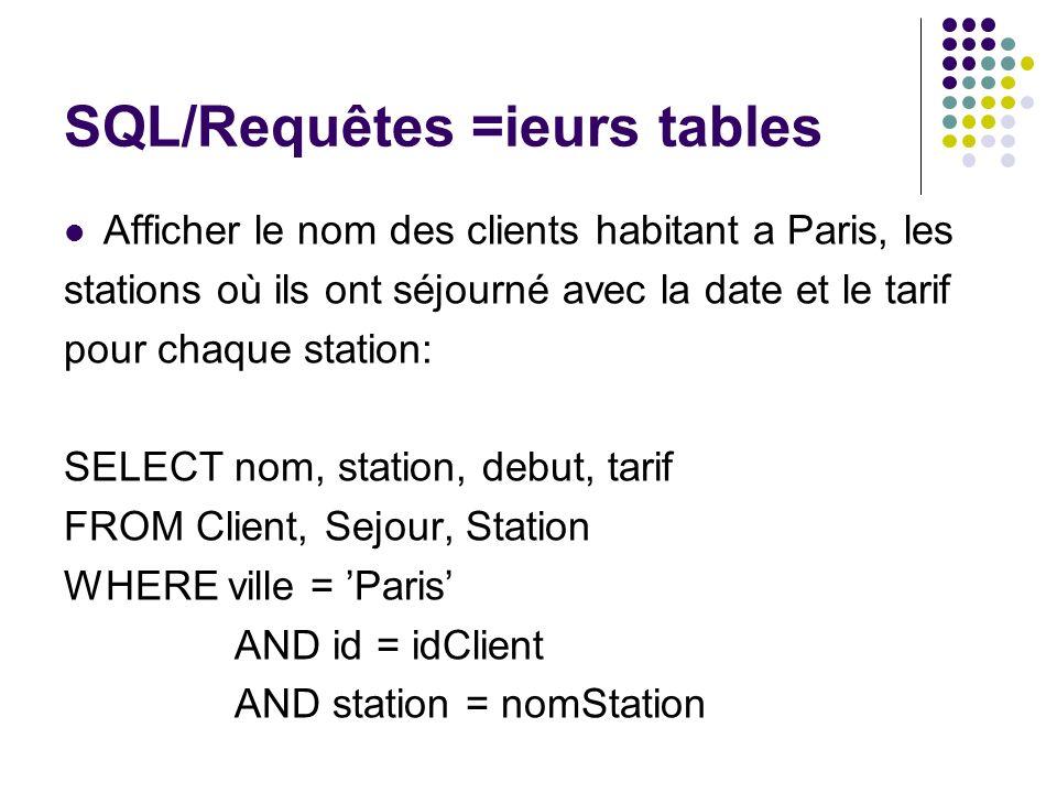 SQL/Requêtes =ieurs tables Afficher le nom des clients habitant a Paris, les stations où ils ont séjourné avec la date et le tarif pour chaque station