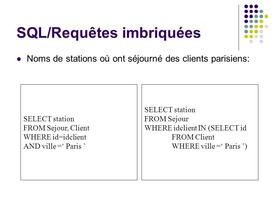 SQL/Requêtes imbriquées Noms de stations où ont séjourné des clients parisiens: SELECT station FROM Sejour, Client WHERE id=idclient AND ville = Paris