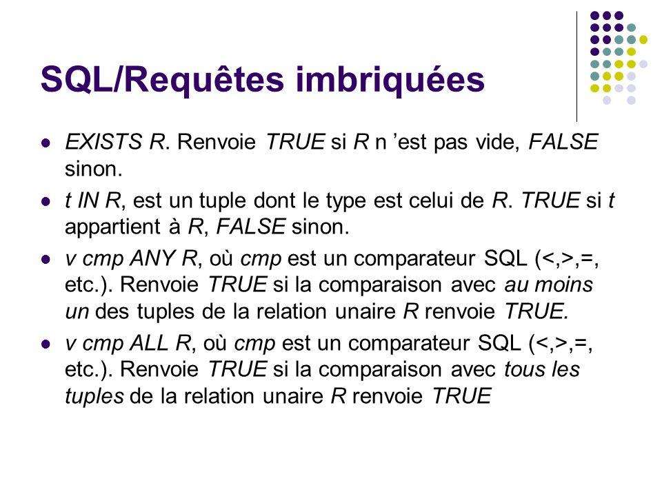 SQL/Requêtes imbriquées EXISTS R. Renvoie TRUE si R n est pas vide, FALSE sinon. t IN R, est un tuple dont le type est celui de R. TRUE si t appartien