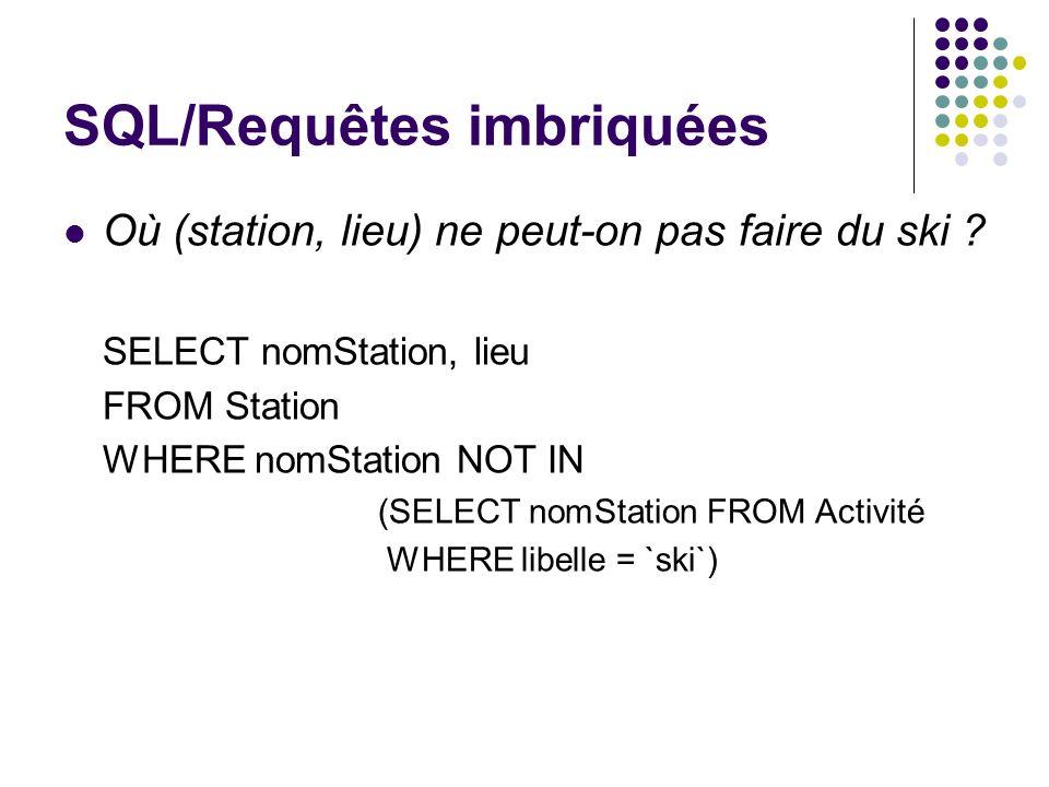 SQL/Requêtes imbriquées Où (station, lieu) ne peut-on pas faire du ski ? SELECT nomStation, lieu FROM Station WHERE nomStation NOT IN (SELECT nomStati