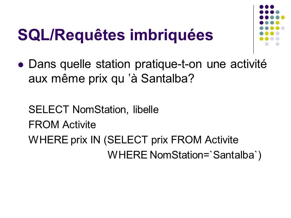 SQL/Requêtes imbriquées Dans quelle station pratique-t-on une activité aux même prix qu à Santalba? SELECT NomStation, libelle FROM Activite WHERE pri