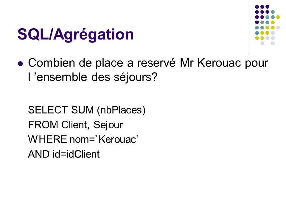SQL/Agrégation Combien de place a reservé Mr Kerouac pour l ensemble des séjours? SELECT SUM (nbPlaces) FROM Client, Sejour WHERE nom=`Kerouac` AND id