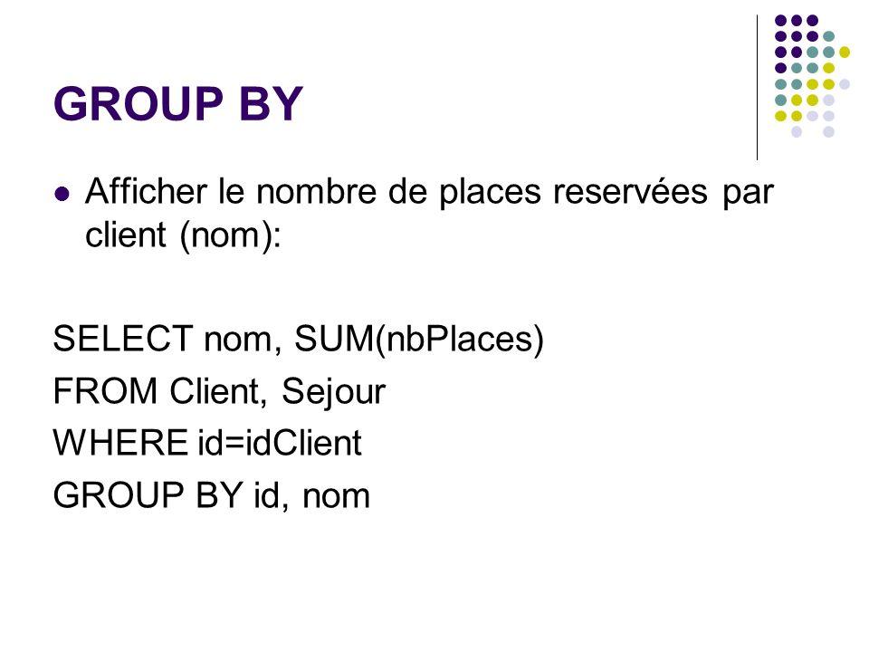 GROUP BY Afficher le nombre de places reservées par client (nom): SELECT nom, SUM(nbPlaces) FROM Client, Sejour WHERE id=idClient GROUP BY id, nom