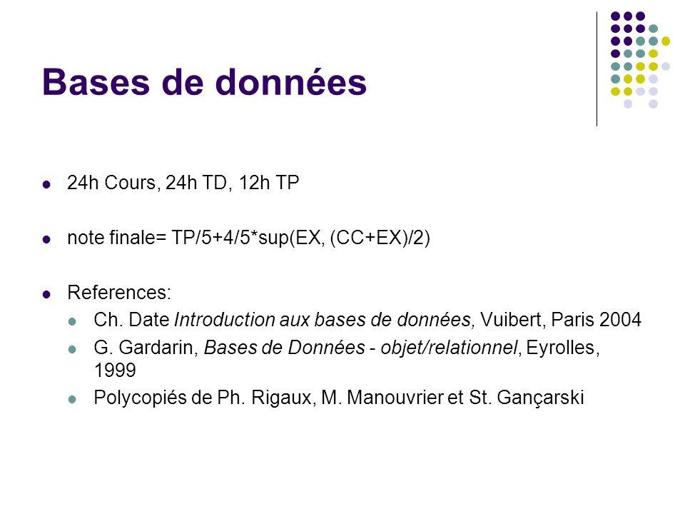 Bases de données 24h Cours, 24h TD, 12h TP note finale= TP/5+4/5*sup(EX, (CC+EX)/2) References: Ch. Date Introduction aux bases de données, Vuibert, P