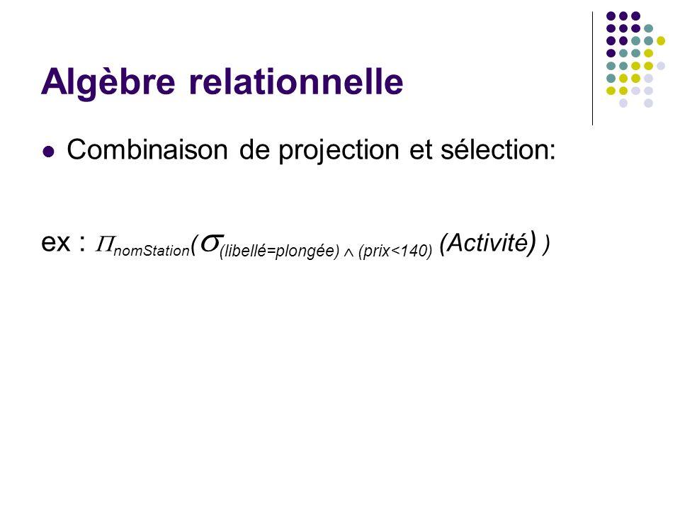 Algèbre relationnelle Combinaison de projection et sélection: ex : nomStation ( (libellé=plongée) (prix<140) (Activité ) )
