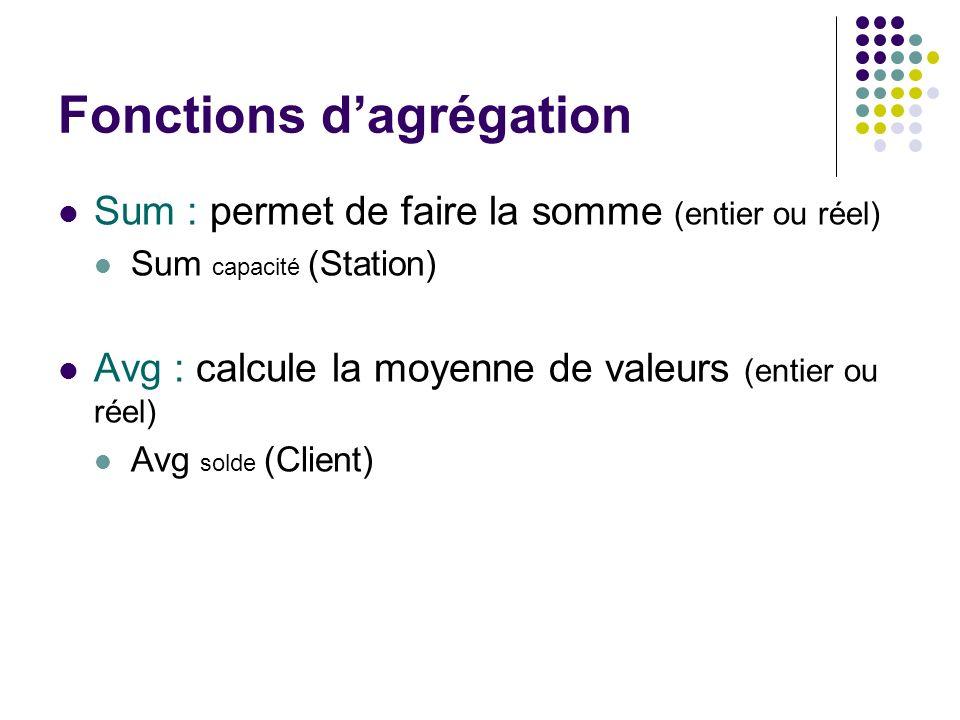 Fonctions dagrégation Sum : permet de faire la somme (entier ou réel) Sum capacité (Station) Avg : calcule la moyenne de valeurs (entier ou réel) Avg