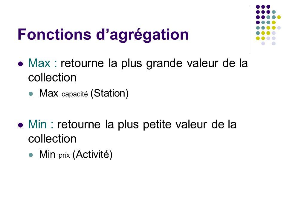 Fonctions dagrégation Max : retourne la plus grande valeur de la collection Max capacité (Station) Min : retourne la plus petite valeur de la collecti