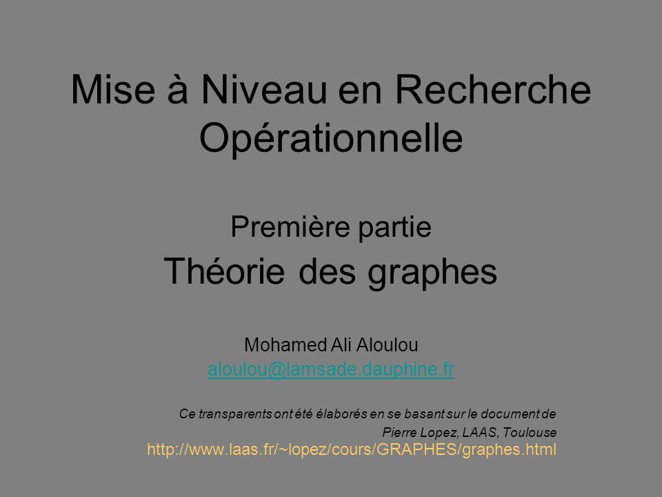 Mise à Niveau en Recherche Opérationnelle Première partie Théorie des graphes Mohamed Ali Aloulou aloulou@lamsade.dauphine.fr Ce transparents ont été