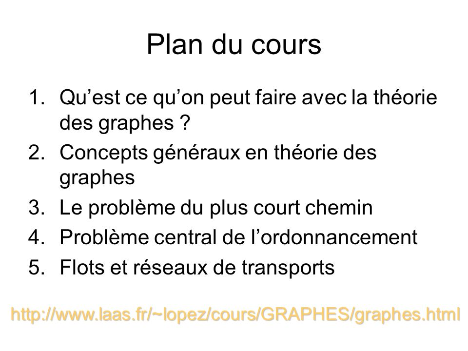 Plan du cours 1.Quest ce quon peut faire avec la théorie des graphes ? 2.Concepts généraux en théorie des graphes 3.Le problème du plus court chemin 4
