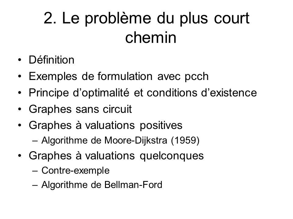 2. Le problème du plus court chemin Définition Exemples de formulation avec pcch Principe doptimalité et conditions dexistence Graphes sans circuit Gr