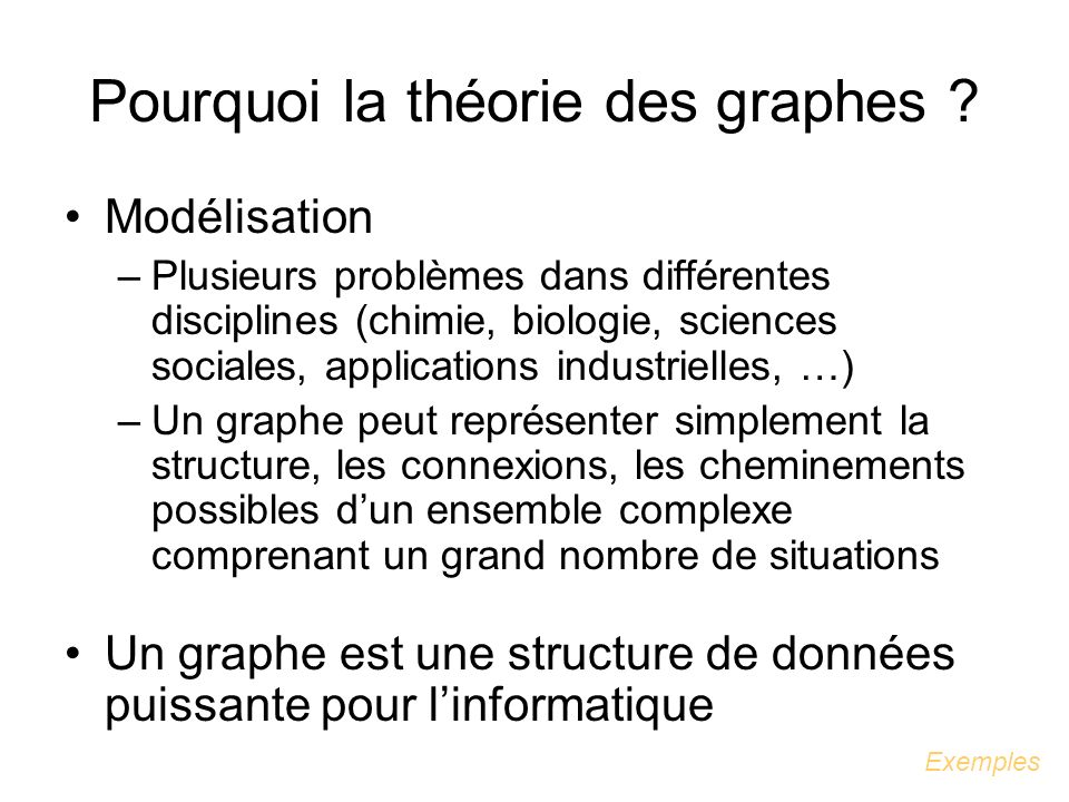 1.Concepts généraux en théorie des graphes Définitions Représentations dun graphe Coloration des sommets dun graphe Connexité dans les graphes Graphes particuliers