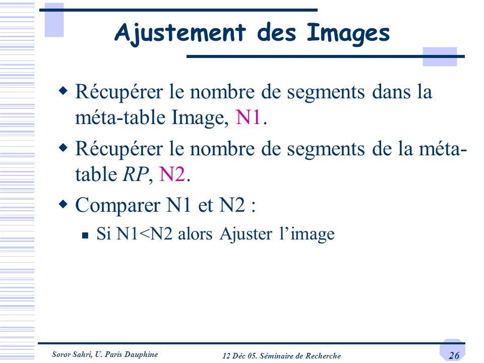 Soror Sahri, U. Paris Dauphine 12 Déc 05. Séminaire de Recherche 26 Ajustement des Images Récupérer le nombre de segments dans la méta-table Image, N1