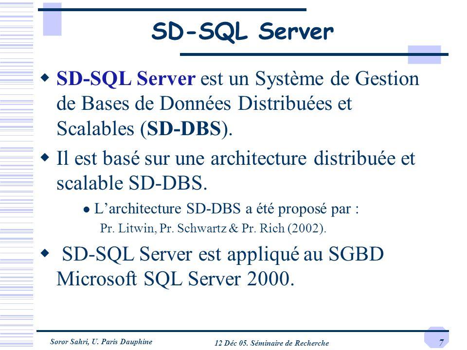 Soror Sahri, U. Paris Dauphine 12 Déc 05. Séminaire de Recherche 7 SD-SQL Server SD-SQL Server est un Système de Gestion de Bases de Données Distribué