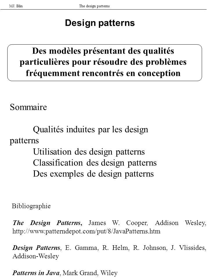 MJ. BlinThe design patterns Design patterns Des modèles présentant des qualités particulières pour résoudre des problèmes fréquemment rencontrés en co