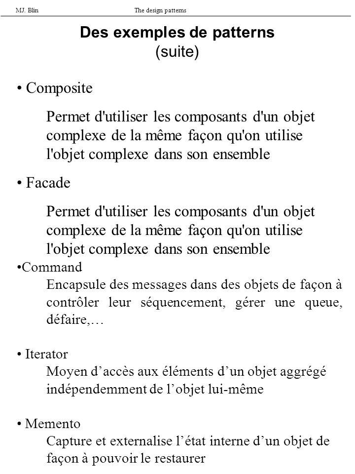 MJ. BlinThe design patterns Composite Permet d'utiliser les composants d'un objet complexe de la même façon qu'on utilise l'objet complexe dans son en