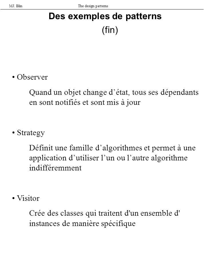 MJ. BlinThe design patterns Observer Quand un objet change détat, tous ses dépendants en sont notifiés et sont mis à jour Strategy Définit une famille