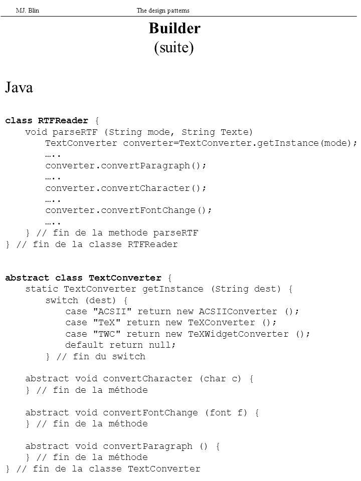 MJ. BlinThe design patterns Builder (suite) Java class RTFReader { void parseRTF (String mode, String Texte) TextConverter converter=TextConverter.get