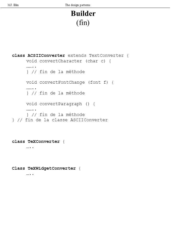 MJ. BlinThe design patterns class ACSIIConverter extends TextConverter { void convertCharacter (char c) { …….. } // fin de la méthode void convertFont