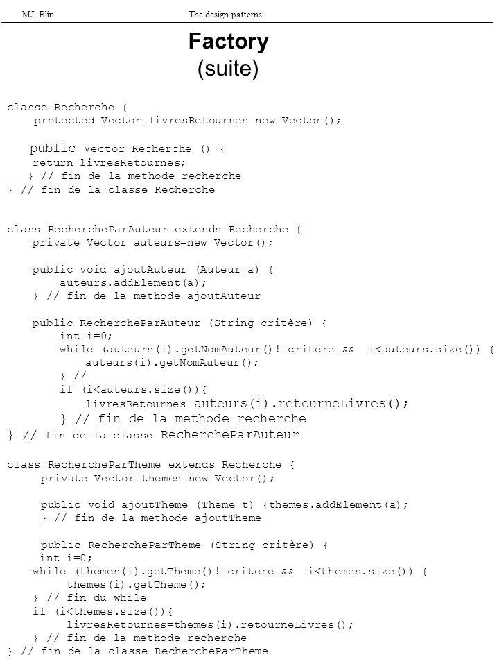 MJ. BlinThe design patterns Factory (suite) classe Recherche { protected Vector livresRetournes=new Vector(); public Vector Recherche () { return livr