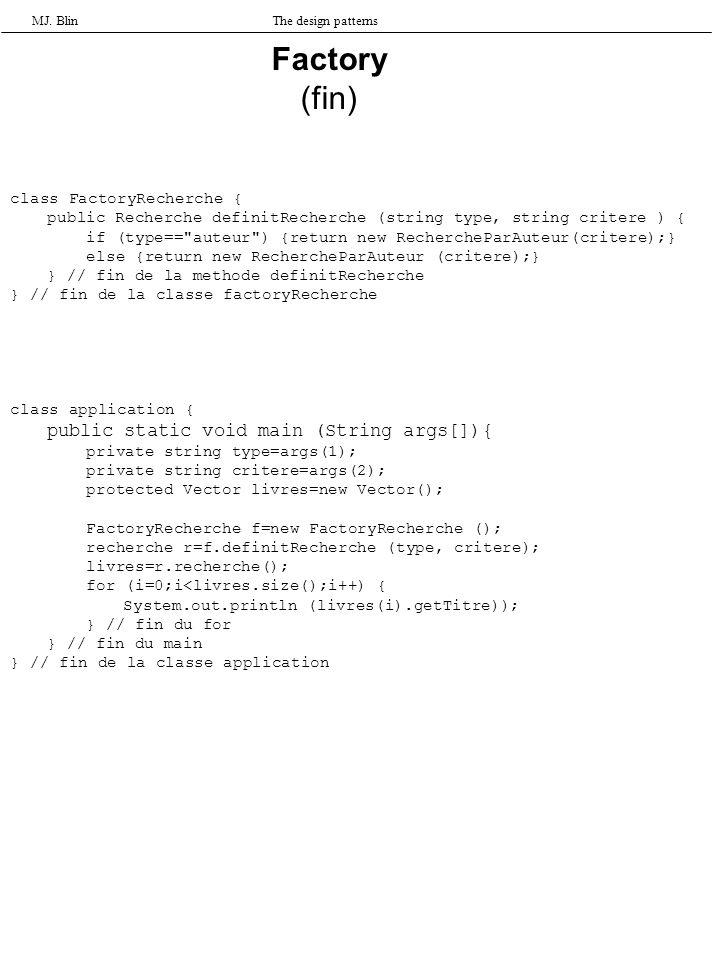 MJ. BlinThe design patterns class FactoryRecherche { public Recherche definitRecherche (string type, string critere ) { if (type==