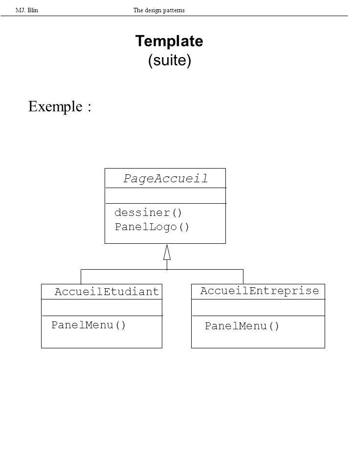 MJ. BlinThe design patterns Template (suite) Exemple : PageAccueil AccueilEtudiant AccueilEntreprise dessiner() PanelLogo() PanelMenu()