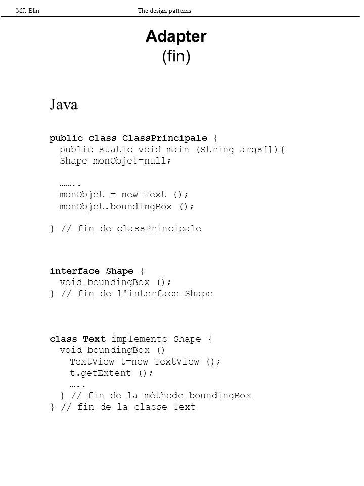 MJ. BlinThe design patterns Adapter (fin) Java public class ClassPrincipale { public static void main (String args[]){ Shape monObjet=null; …….. monOb