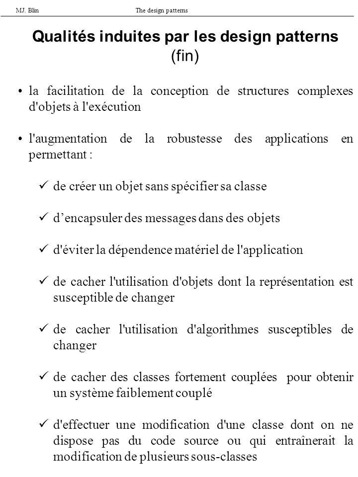 MJ. BlinThe design patterns la facilitation de la conception de structures complexes d'objets à l'exécution l'augmentation de la robustesse des applic