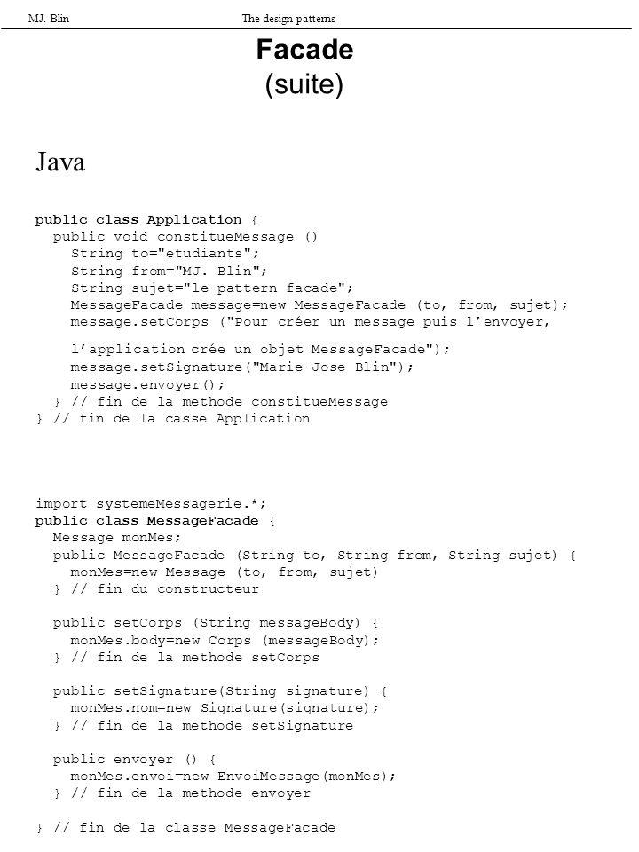 MJ. BlinThe design patterns Facade (suite) Java public class Application { public void constitueMessage () String to=