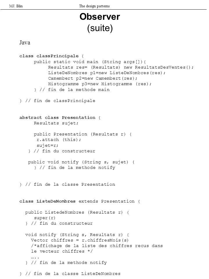 MJ. BlinThe design patterns Observer (suite) Java class classPrincipale { public static void main (String args[]){ Resultats res= (Resultats) new Resu