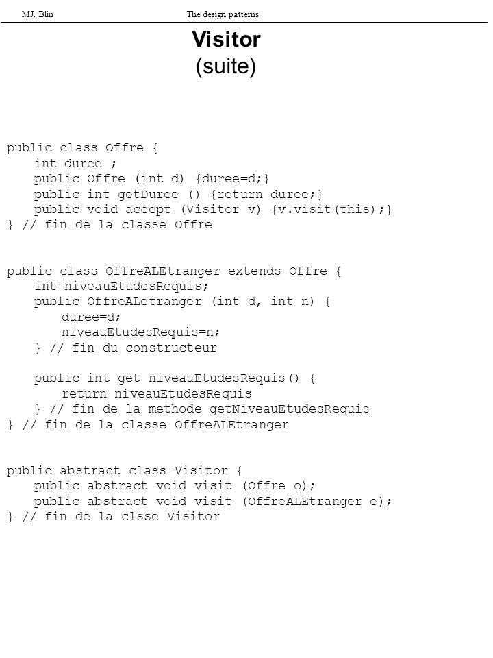 MJ. BlinThe design patterns Visitor (suite) public class Offre { int duree ; public Offre (int d) {duree=d;} public int getDuree () {return duree;} pu