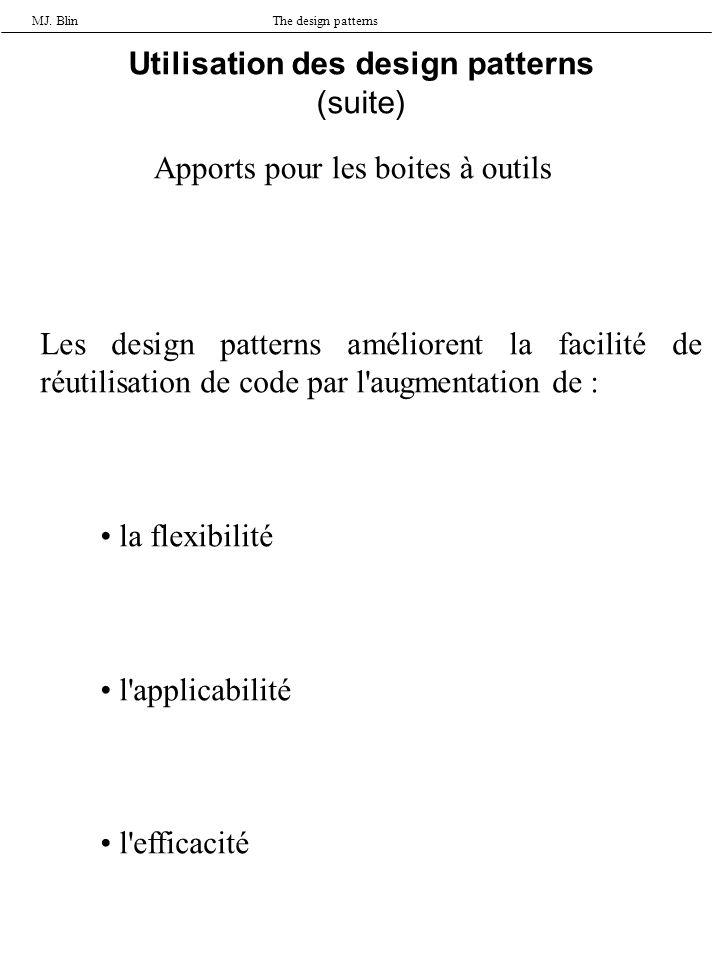 MJ. BlinThe design patterns Utilisation des design patterns (suite) Apports pour les boites à outils Les design patterns améliorent la facilité de réu