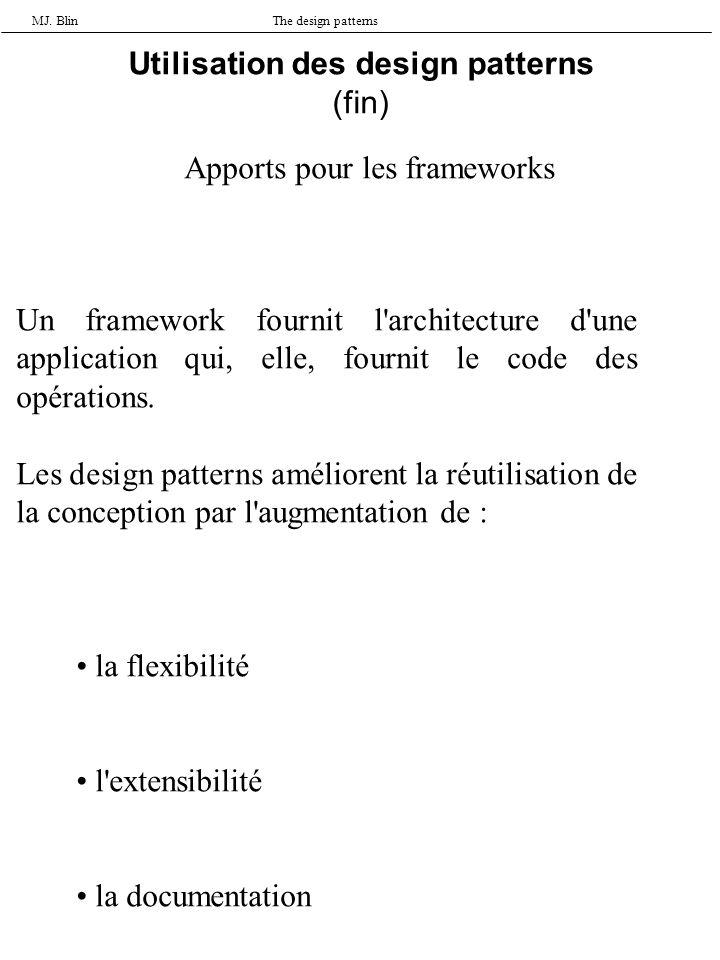 MJ. BlinThe design patterns Utilisation des design patterns (fin) Apports pour les frameworks Un framework fournit l'architecture d'une application qu