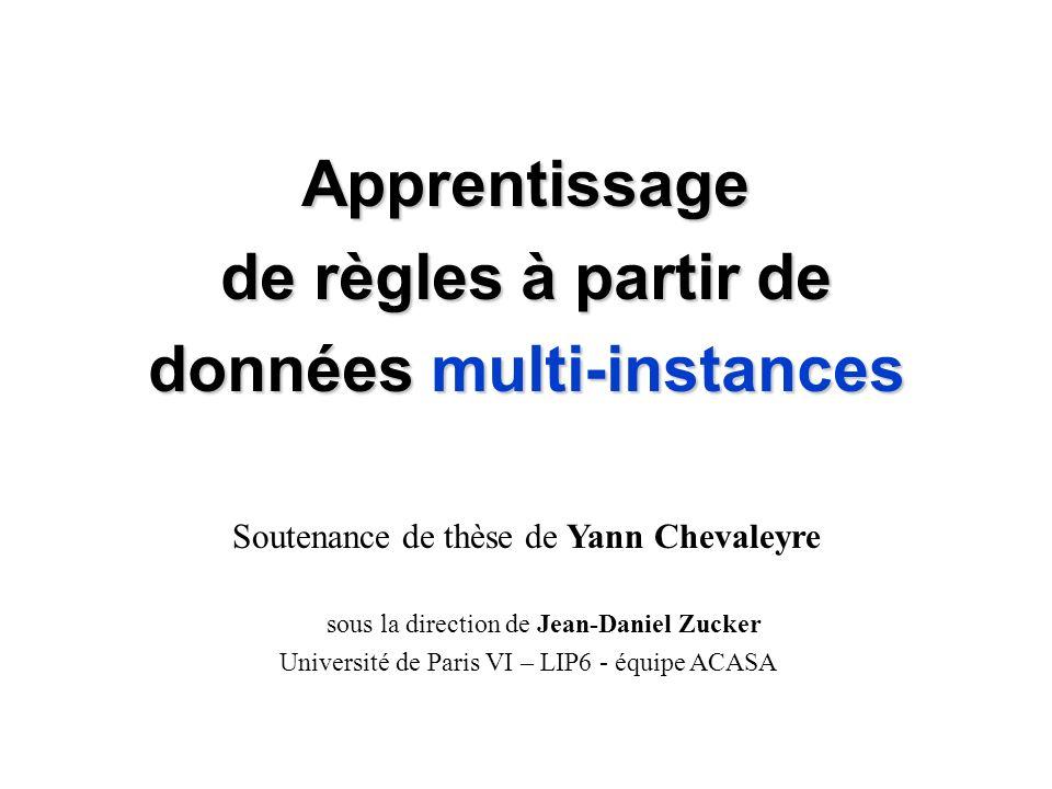 Apprentissage de règles à partir de données multi-instances Soutenance de thèse de Yann Chevaleyre sous la direction de Jean-Daniel Zucker Université de Paris VI – LIP6 - équipe ACASA