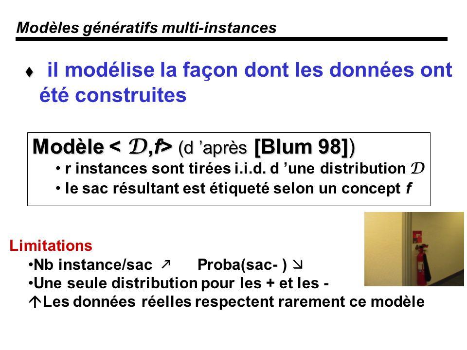 Modèles génératifs multi-instances Modèle (d après [Blum 98]) r instances sont tirées i.i.d.