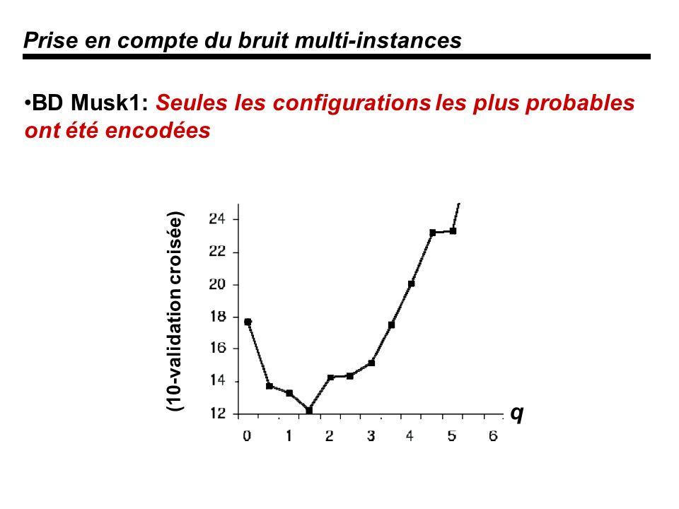 Prise en compte du bruit multi-instances BD Musk1: Seules les configurations les plus probables ont été encodées q (10-validation croisée)
