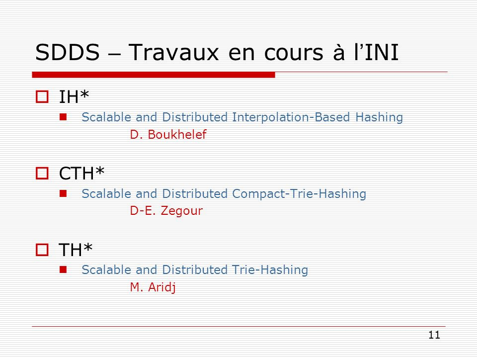11 SDDS – Travaux en cours à l INI IH* Scalable and Distributed Interpolation-Based Hashing D. Boukhelef CTH* Scalable and Distributed Compact-Trie-Ha