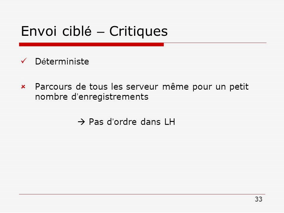 33 Envoi cibl é – Critiques D é terministe Parcours de tous les serveur même pour un petit nombre d enregistrements Pas d ordre dans LH