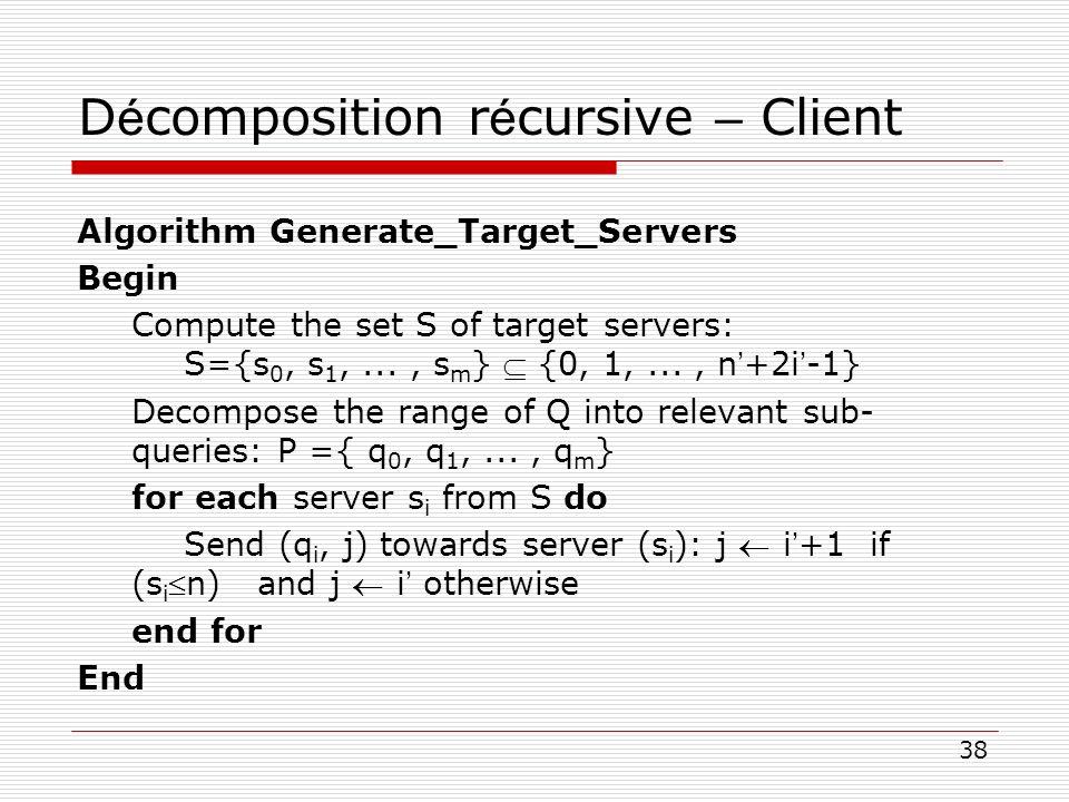 38 D é composition r é cursive – Client Algorithm Generate_Target_Servers Begin Compute the set S of target servers: S={s 0, s 1,..., s m } {0, 1,...,