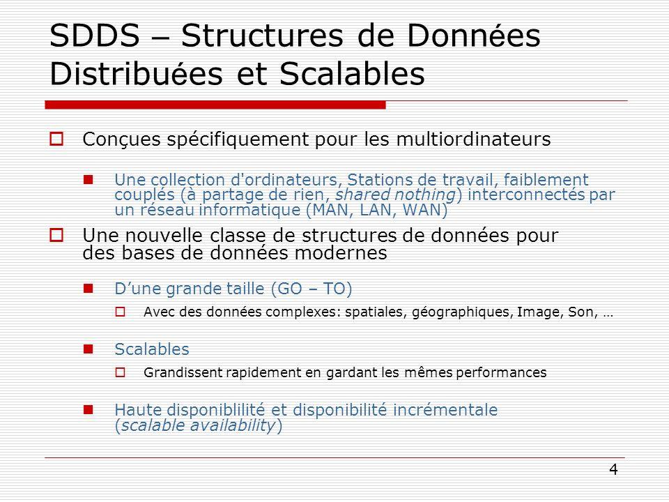 4 SDDS – Structures de Donn é es Distribu é es et Scalables Conçues spécifiquement pour les multiordinateurs Une collection d'ordinateurs, Stations de