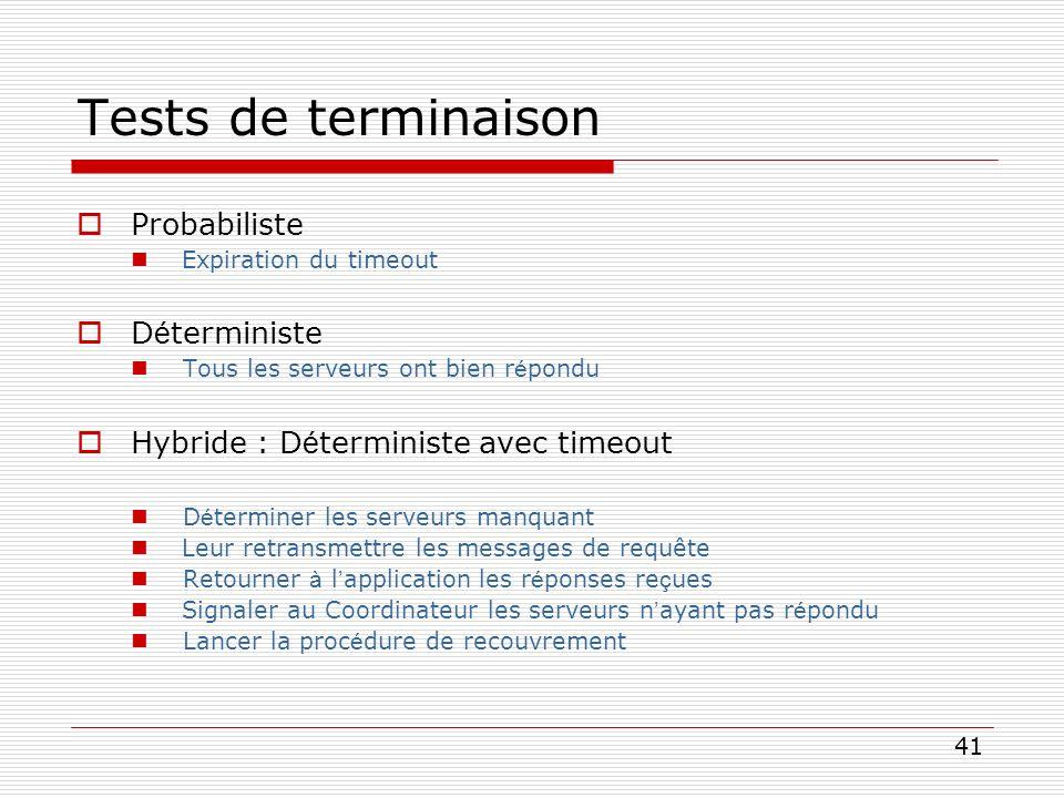 41 Tests de terminaison Probabiliste Expiration du timeout D é terministe Tous les serveurs ont bien r é pondu Hybride : D é terministe avec timeout D