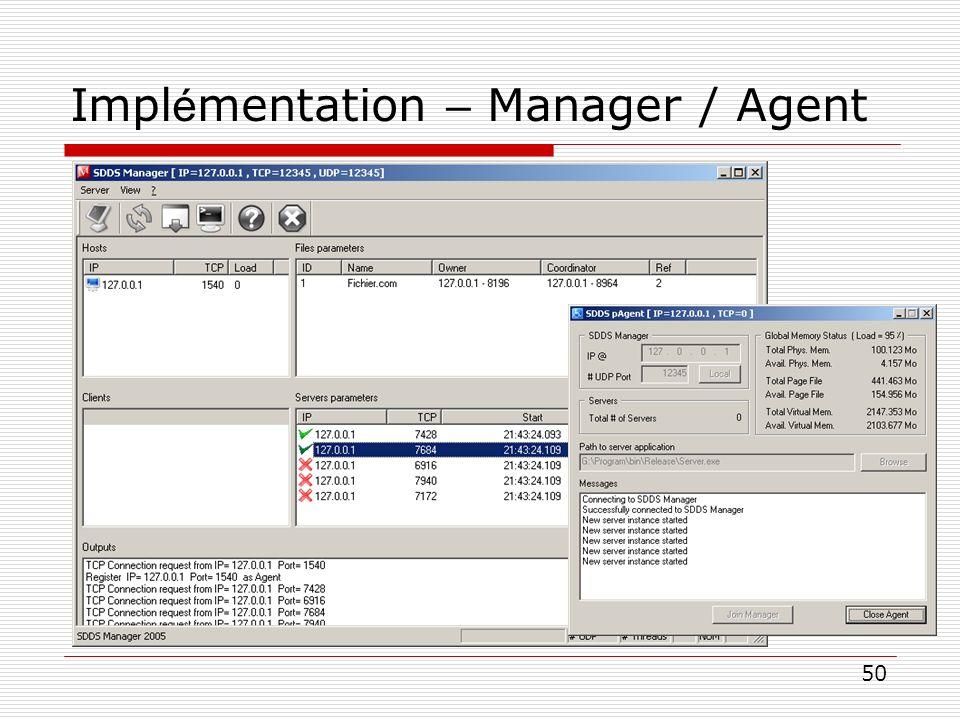 50 Impl é mentation – Manager / Agent