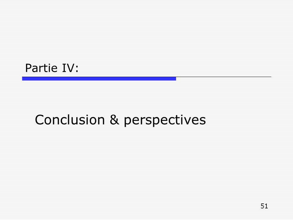51 Partie IV: Conclusion & perspectives